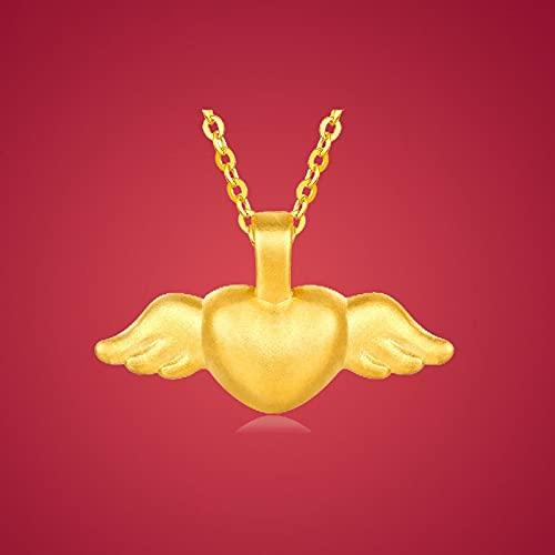 JIUXIAO Collar con Colgante de corazón de alas de ángel de 24 K, joyería de Oro Puro 999, Regalo romántico, joyería Fina Femenina, Colgante de ángel Dorado