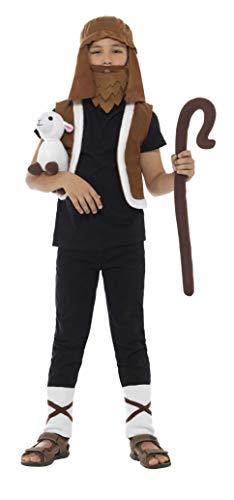 Smiffys Kinder Jungen Schafhirten Kostüm, Weste, Kopftuch, Beinstulpen, Stock und Lamm, Alter: 7-12 Jahre, 48040