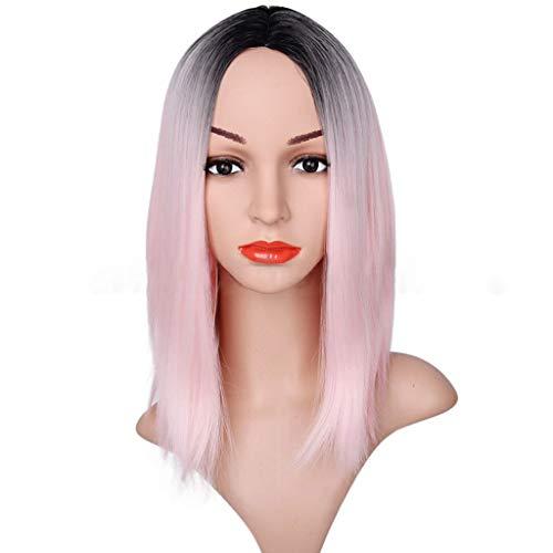 GCGY Porte Postiches Omber Pink Dark Roots Bob Droite Courte Soie Lace Front Perruques Cheveux en Fibre Synthétique Résistants à la Chaleur Densité 18