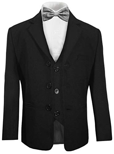 Paul Malone - Festlicher Kinderanzug für Jungen 5tlg schwarz - Kommunionsanzug Taufanzug mit Fliege grau 170-176 (15-16 Jahre)