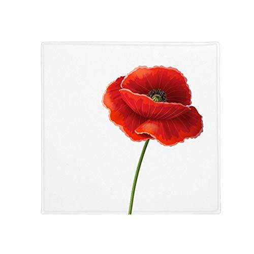 DIYthinker Simplicité Fleur Rouge Art Peinture Corn Poppy antidérapant Tapis de Pet de sol carré de salle de bain salon cuisine Porte 60/50 cm Cadeau, Polyester filé, multicolore, 60X60cm