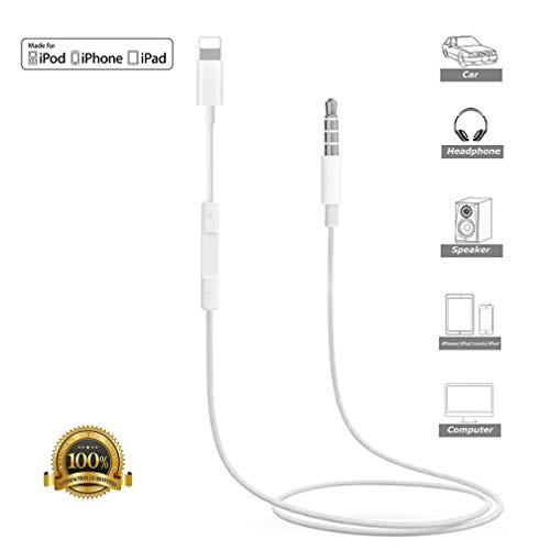 Cable Auxiliar para iPhone, Lucbuy Aux Cord 3.5mm Car AUX para iPhone 7/X/8/8Plus/XS MAX/XR para estéreo automóvil o Adaptador de Altavoz o Auricular, Compatible con la versión más Reciente de iOS
