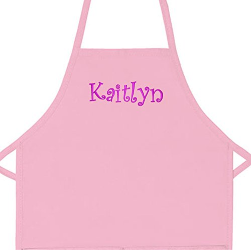 Personalized Apron Embroidered Add a Name Kids Apron (Pink, Long 16' x 24' (for Kids Ages 7 to 11))