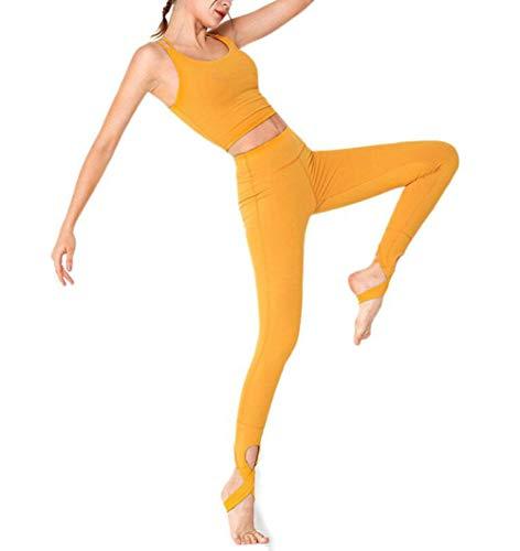 Yoga-Kleidung, Frauen-europäische und amerikanische breathable Schnelltrockner Laufsport Anzug Gym Zweiteilige,Gelb,XL