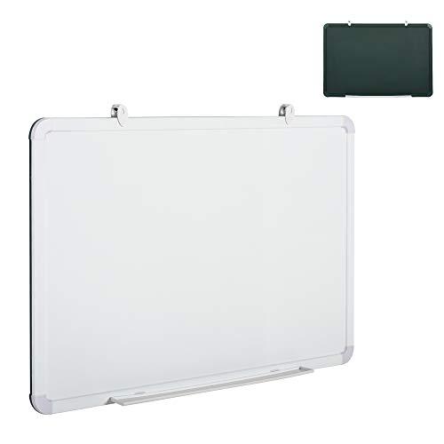 Vinsetto Doppelseitige Whiteboard & Kreidetafel, Tafel mit Stiftablage, Greenboard, Kombitafel, Memoboard, Weiß+Grün, 87 x 57 x 1,5 cm