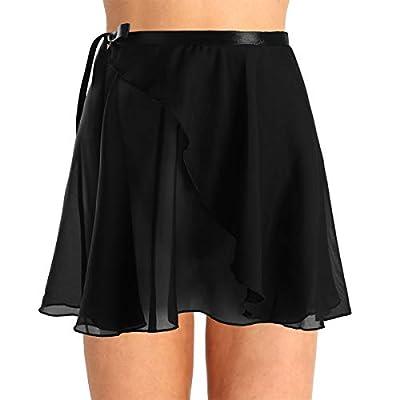 Agoky Women Girls Chiffon Ballet Wrap Skirt Skate Georgette Skirts Tie Waist Dance Wear