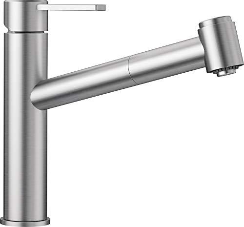 BLANCO Ambis-S, Einhebelmischer, Küchenarmatur mit ausziehbarer Schlauchbrause, Massiv-Edelstahl gebürstet, Niederdruck, 525125