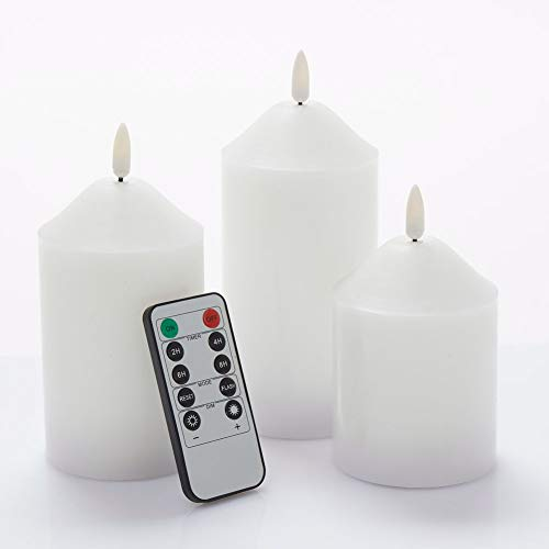 glowiu Classical Candle Pillar Realistic Wick Battery Operated Candles Set of 3(H 3'4'5' x D3') Candles Electric Home Decor with 10-Key Remote Multi-Function (White)