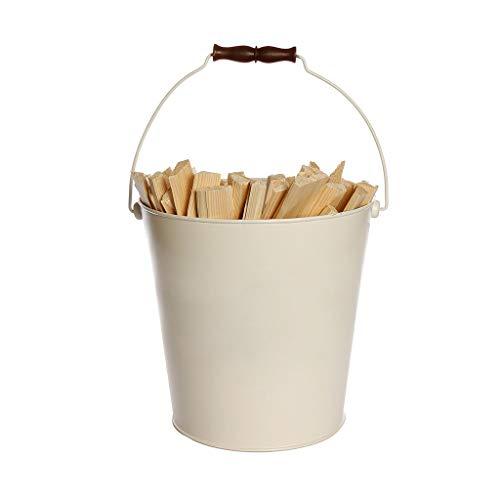 Cubo de leña para chimenea de 17 l, cesta de almacenamiento para estufa de madera