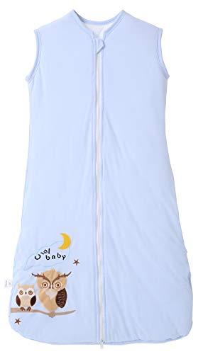 Chilsuessy Schlafsack Baby 2.5 Tog Winterschlafsack Babyschlafsack aus reine Baumwolle Winter Schlafanzug ohne Ärmel 70-130cm für Neugeborene und Kinder, Blaue Eule, 130cm/Baby Höhe 120-140cm