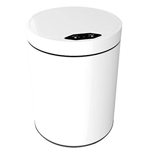 Mxppu USB-Lithium-Batterie-Direktladung Edelstahl Smart Sensor 12L Haushalt Doppel-Barrel Mülleimer Büro Bad Wohnzimmer Küche Badezimmer WC Mit Deckel Wasserdicht Keramik Weiß