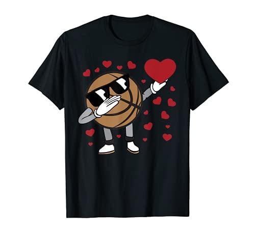 Divertido Dabbing Baloncesto Corazón San Valentín Cesta amante Camiseta