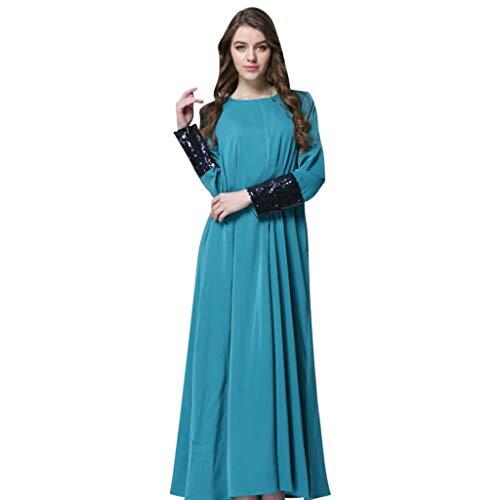 Vimoli Langes Kleid Damen Rundhals Langarm Tunika Tops Pailletten Patchwork Einfarbig Swing Elegant...