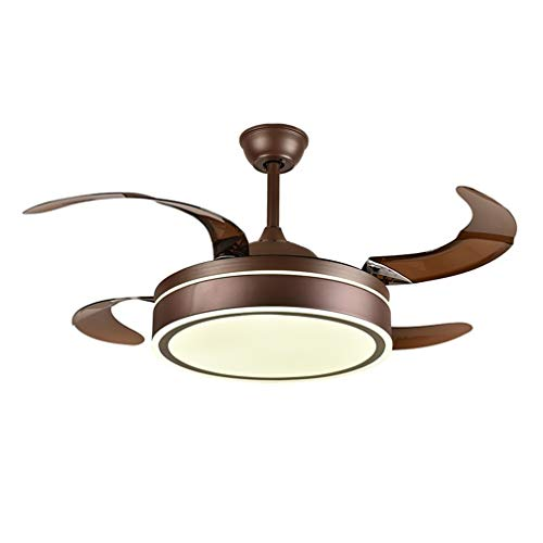 Luz De Ventilador De Techo Invisible Con Control Remoto, Lámpara De Araña LED For Dormitorio Con 4 Aspas Retráctiles De ABS, (42 Pulgadas, Marrón)
