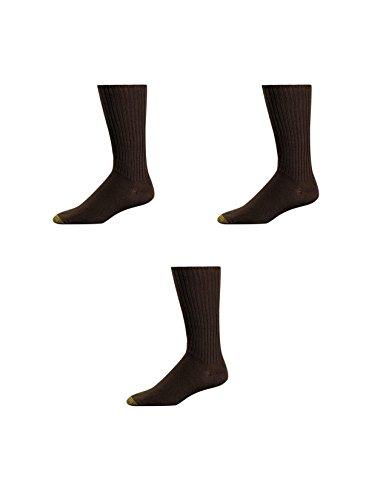 Gold Toe Crew-Socken für Herren, besonders weich, 3 Paar Gr. Einheitsgröße, braun