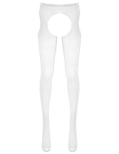 JEATHA Stockings & Hosiery - verführerische Strumpfhose mit offenem Schritt erotische Ouvert-Strumpfhose für sie - 7 Farben Weiß One Size