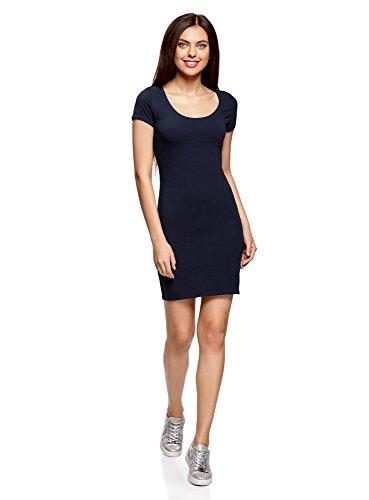 oodji Ultra Damen Enges Kleid aus Baumwolle, Blau, DE 34 / EU 36 / XS