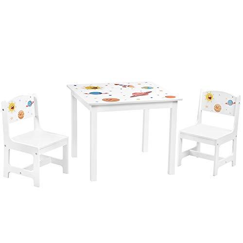 SONGMICS Kindertisch-Set, 3-teilig, Tisch mit 2 Stühlen, Tischbeine aus Massivholz, Kindermöbel, für Kinderzimmer und Spielzimmer, weiß GKR010W01