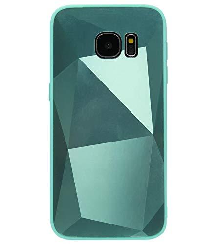ADEL Custodia morbida in silicone TPU compatibile con Samsung Galaxy S6 Edge – con diamanti verdi
