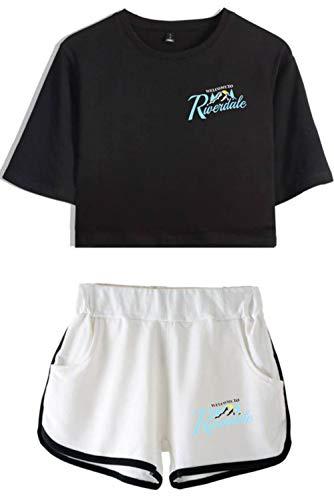 HAOSHENG Mujer Riverdale Deportivo Camiseta y Pantalones Cortos con Estampado de Serpiente Conjunto de Moda de Verano(M)