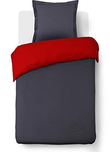 Vision - Juego de Funda nórdica y 1 Funda de Almohada a Juego, algodón, 155 x 220 cm, Color Gris y Rojo