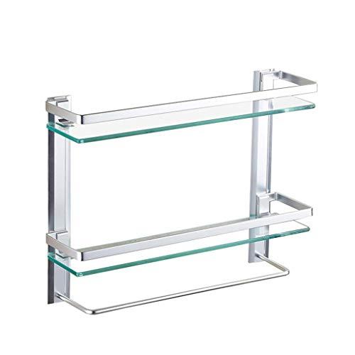 Edelstahl-Badezimmerglasregal mit Handtuchhalter und Schiene Gebürstetes Hochleistungs-Rostfestes 2-stufiges Wandregal (Größe: 60 cm)