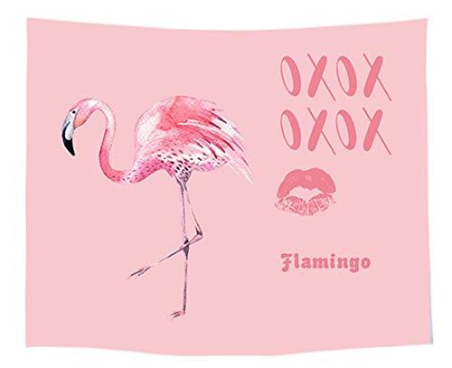 QNMSTJ Tapestry, muurhanger, roze meisjes hartjes, kleur, schattig flamingo-patroon, Art Home wanddecoratie, strandhanddoek, yogamat, ruimteverdeler, plafond inrichting, voor slaapkamer, dorm, woonkamer 200×150cm