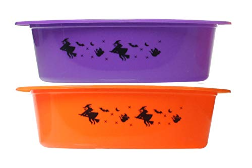 Halloween Container With Lid Two Colors Orange/Purple (2-Pack)