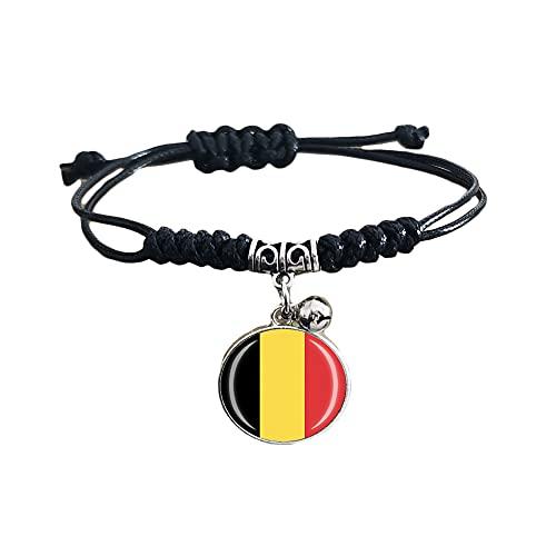 Pulsera de cuero ajustable estilo bandera de Bélgica para viaje recuerdo pulsera de moda