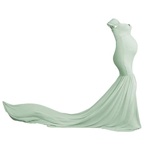 FYMNSI Vestido de mujer embarazada elegante fotografía apoyo maternidad hombros libre sirena larga vestido noche gasa para bodas Maxivestido fiesta ropa verde claro Talla única