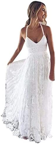 Andybridal Vintage A Line Halter Backless Boho Lace Summer Beach Wedding Dress for Guests Ivory product image