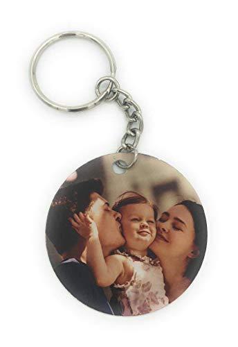 Saphirdesign Rundes Schlüsselanhänger aus Metal mit Wunschmotiv, Bild oder Logo. Geeignet als Werbe-Erinnerungs-Geschenk. Das perfekte individuelle Fotogeschenk. (1 Bild (Vor-&Rückseite))