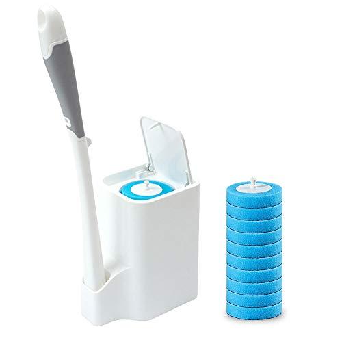 HAORUIG Badezimmer Toilettenbürste und Halter, Schwamm Bürstenkopf kommt mit Reinigung, Einweg-Bürstenkopf (mit 10 Stück Ersatz) (Klobürste)