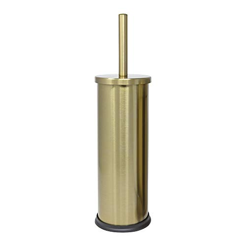 Deblanch Escobillero, Acero Inoxidable, Oro Viejo, 10.5 X 10.5 X 28 Cm