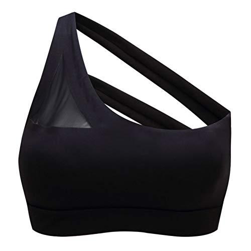 CNKM Frauen Oblique One Shoulder Strap Sport-BH, Push Up Atmungsaktives Sport-Top, Cross Straps Back Fitness Running Yoga BH