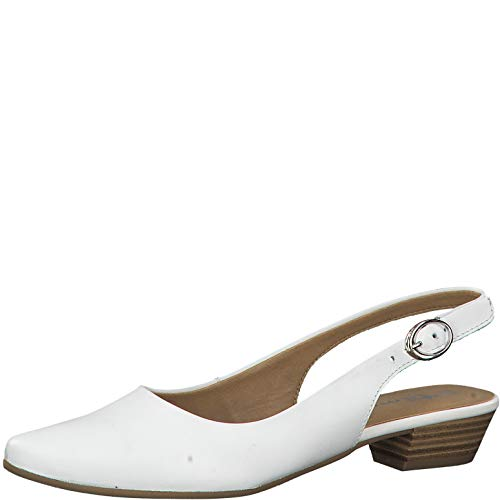 Tamaris Damen Pumps 29400-24, Frauen Sling-Pumps, Ladies feminin elegant Women's Women Woman Business geschäftsreise,White Leather,38 EU / 5 UK