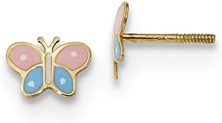 14k Madi K Polished Enameled Butterfly Screwback Post Earrings