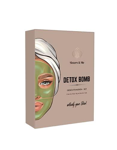 Sisters & Me Detox Bomb Set, Vegan, 9x Premium Anti Pickel Gesichtsmasken mit Hyaluronsäure Serum für die Haut, Hochdosiert, Hydrogel Detox Maske, Aloe Vera, Grüner Tee Tuchmaske und Augen Pads