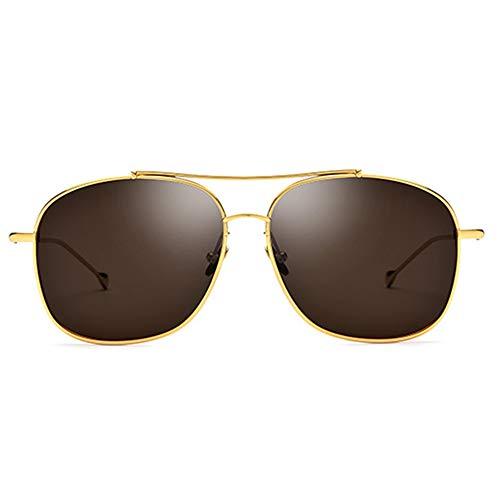XiaoDong1 UV400 - Gafas de sol de titanio puro para hombre, ultra ligeras, polarizadas para hombre, color marrón