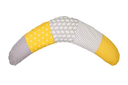 ULLENBOOM ® Stillkissen 190cm x 38cm Elefant Gelb (Made in EU) - Stillkissenbezug: 100% Baumwolle, Füllung: EPS Mikroperlen - Schwangerschaftskissen, Seitenschläferkissen