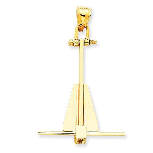 Colgante de oro amarillo de 14 quilates pulido sólido Danforth Nautical Ship Mariner Anchor collar joyería regalos para mujeres