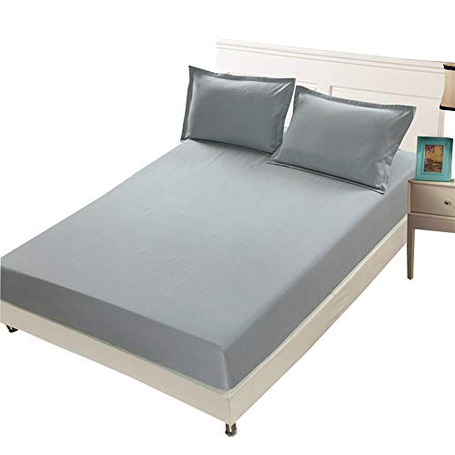 COOLAPA Bed Sheet, Mattress Protector, Soft Microfiber Bed Sheet, Suitable For Mattresses Less Than 28 Cm In Height, Grey (Color : Gray, Size : 150x190cm)