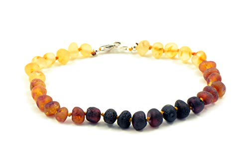 Genuine Raw Baltic Amber Adult Anklet, Adjustable 7.5~9.5inches (19-24cm) (Raw Rainbow)