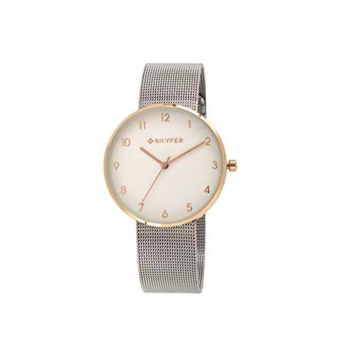Reloj Bilyfer para Mujer con Correa Plateada y Pantalla en Blanco 3P565-P