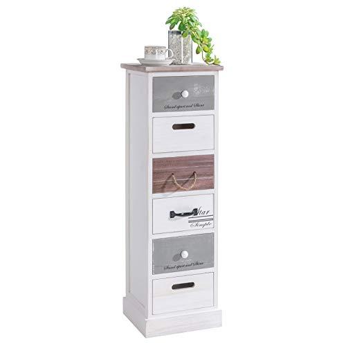 CARO-Möbel Schubladenregal Salva Kommode Standregal Aufbewahrungsregal in weiß, Shabby Chic Vintage Look, 6 Schubladen