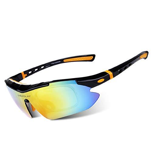 OPEL-R Gafas Polarizadas De Ciclismo para Exteriores Gafas De Sol Deportivas Anti-UV para Bicicleta, Gafas De MTB De Moda Casual, 5 Lentes Intercambiables,Black Orange