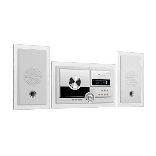 auna Stereosonic - stereosysteem, compact systeem, stereosysteem, radio, cd-speler, USB-poort, Bluetooth, AUX-In, voor wandmontage, wit
