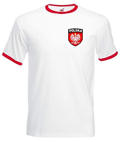 Polonia Polska poli blanco fútbol balón selección nacional camiseta Retro camiseta–Todas las Tallas