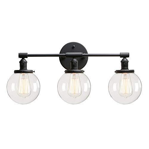 RUIXINBC wandlamp voor binnen, modern design, kleine bol van transparant glas, voor verlichting, spiegel vooraan 3 vlammen