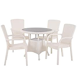 Ensemble de Jardin 4 pers. Ensemble Bistro Style Cosy Table Plateau Verre trempé 4 fauteuils polypropylène Imitation…